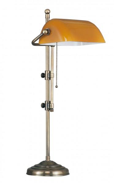 Bankers Lamp / Bankerlampe / Schreibtischleuchte, Landhaus Stil, Messing antik-handpatiniert (Altmessing), cognacfarbenes Glas, Höhe 50 cm, 230 V, E27 60 W